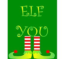 Cute Funny Christmas Elf Legs Elf You Photographic Print