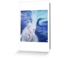 Singer of Light - Aurora Wolf Colored Pencil Drawing Greeting Card