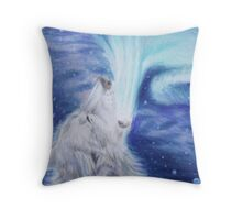 Singer of Light - Aurora Wolf Colored Pencil Drawing Throw Pillow