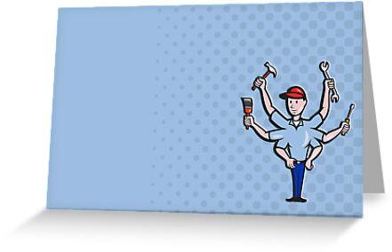 Handyman Tradesman Carpenter Mechanic Plumber Cartoon by patrimonio