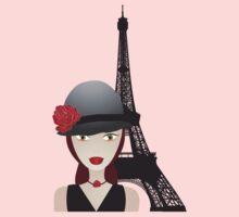 Vintage poster with beautiful girl in paris Kids Clothes