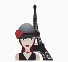Vintage poster with beautiful girl in paris Kids Tee