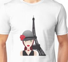 Vintage poster with beautiful girl in paris Unisex T-Shirt
