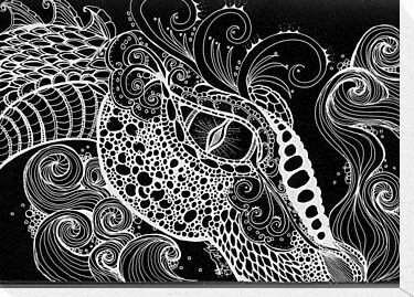 Dragon Zentangle in negative by MysticDragonfly
