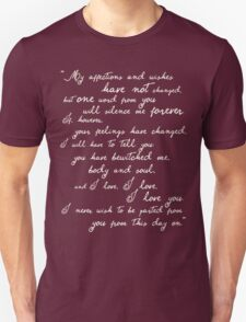 Pride and Prejudice, Darcy (white) quote T-Shirt