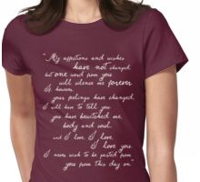 Pride and Prejudice, Darcy (white) quote Womens Fitted T-Shirt