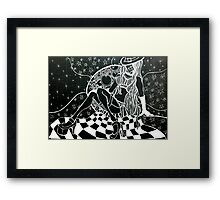 Moon Minx Zentangle in negative Framed Print