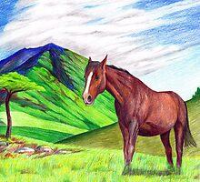 Horse in Landscape by SerendipityArt
