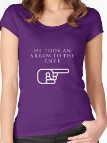 He Took An Arrow To The Knee (White Type) Women's Fitted Scoop T-Shirt