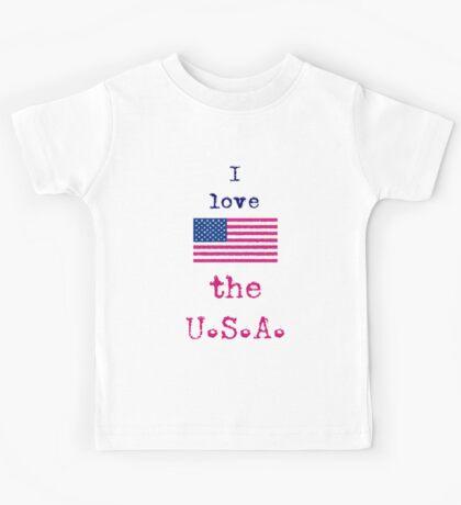 I Love The U.S.A. Vintage Style Kids Tee