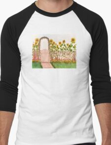 Garden Picket Fence Sunflowers Floral Cathy Peek Men's Baseball ¾ T-Shirt