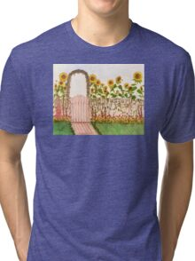 Garden Picket Fence Sunflowers Floral Cathy Peek Tri-blend T-Shirt