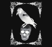 Raven Skull White by emeraldangeluk