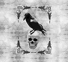 Raven Skull & Lace by emeraldangeluk