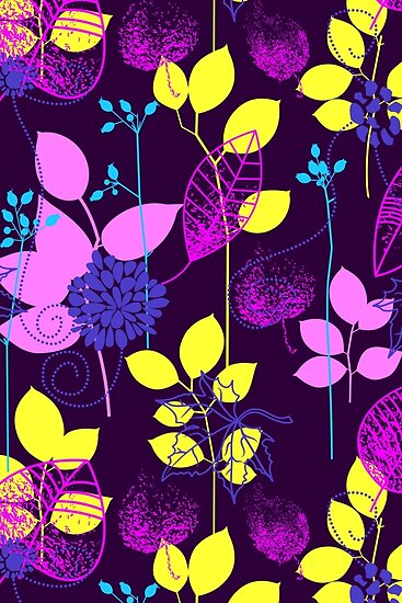 Foliage Lilac & Lemon [iPhone / iPod Case and Print] by Damienne Bingham