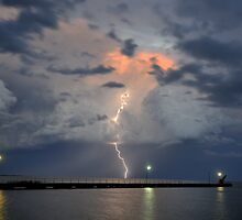 Lightning over Lake Alexandrena, Milang, SA by Matt Harvey
