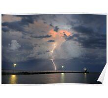 Lightning over Lake Alexandrena, Milang, SA Poster