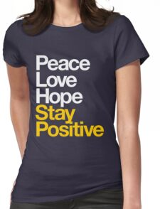 Peace Love Hope Stay Positive (white/mustard) Womens Fitted T-Shirt