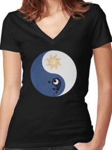 Celestia and Luna Yin Yang Women's Fitted V-Neck T-Shirt