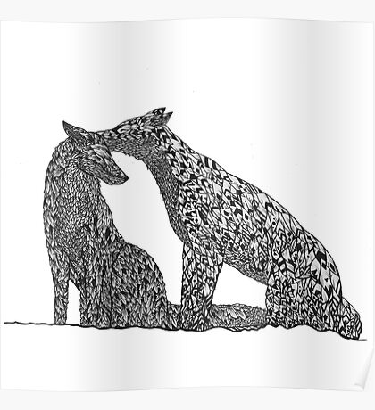 Patterned Foxes Poster