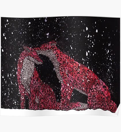 Pattern Foxes in the Snow Poster