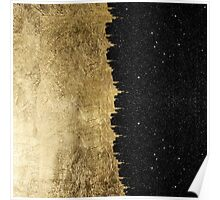 Faux Gold & Black Starry Night Brushstrokes Poster