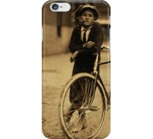 Vintage Sepia Kid Smoking Pipe Leaning on Bicycle iPhone Case/Skin