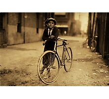 Vintage Sepia Kid Smoking Pipe Leaning on Bicycle Photographic Print