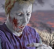 Self Portrait As A Zombie by marksatchwillart