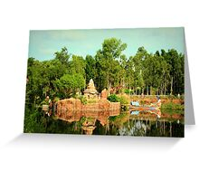 Asian Temple And Longtail Boat Reflecting In Water Greeting Card