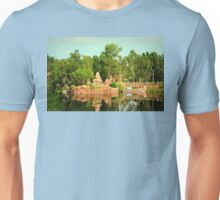 Asian Temple And Longtail Boat Reflecting In Water Unisex T-Shirt
