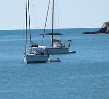 Two Yachts at anchor! Magnetic Island, North Queensland. by Rita Blom