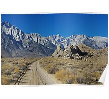 Sand road to Sierra Nevada, California Poster