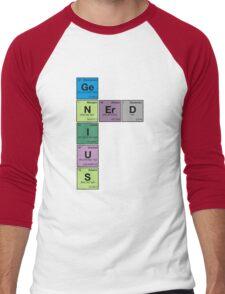 GENIUS NERD! Periodic Table Scrabble Men's Baseball ¾ T-Shirt