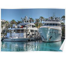 Yachts docked at the Atlantis Marina in Paradise Island, The Bahamas Poster