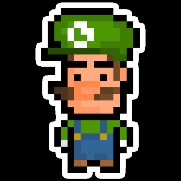 "Pixel Luigi Sticker - ""Super Mario Bros"" by PixelBlock"