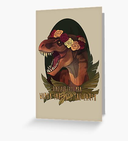 Dinosaur Eats Man Greeting Card
