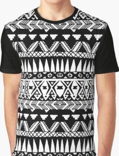 Black and White Hand Drawn Modern Tribal Aztec Graphic T-Shirt