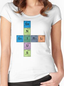 GIRL GENIUS! Periodic Table Scrabble Women's Fitted Scoop T-Shirt