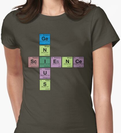 SCIENCE GENIUS! Periodic Elements Scrabble Womens Fitted T-Shirt