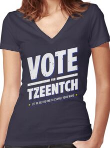 Vote for Tzeentch - Damaged Women's Fitted V-Neck T-Shirt