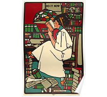 Vintage Woman Reading Poster Poster