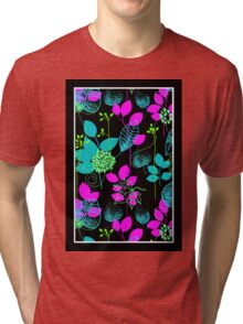 Foliage Fuchsia & Teal [iPhone / iPod Case and Print] Tri-blend T-Shirt