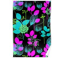 Foliage Fuchsia & Teal [iPhone / iPod Case and Print] Poster