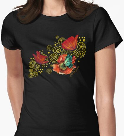 Iceland Poppies on Golden Spirals Womens Fitted T-Shirt