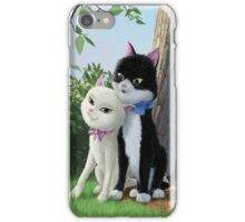 two romantic cats in love by tree iPhone Case/Skin