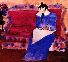 On her sofa, my version of a Pissarro, watercolor by Anna  Lewis