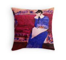 On her sofa, my version of a Pissarro, watercolor Throw Pillow