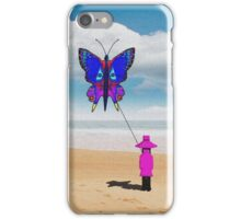 Girl with butterfly kite iPhone Case/Skin
