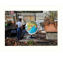 After leaving his earth sculpture in the garden overnight, Wes finds undisputed evidence of global worming. Art Print